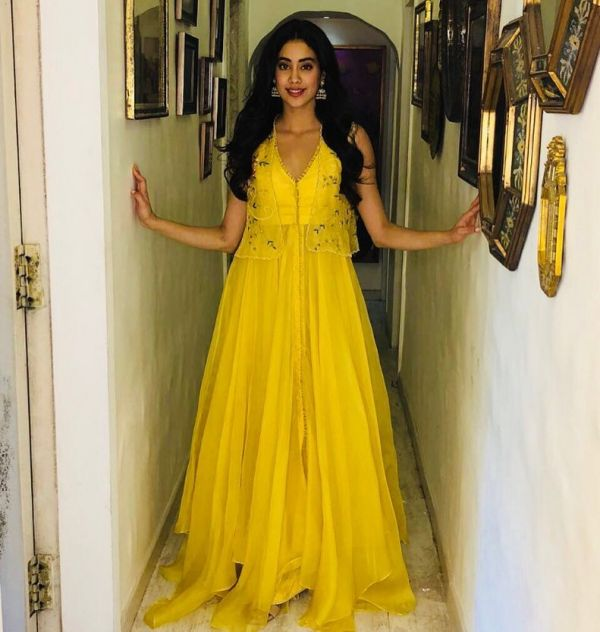 9 janhvi kapoor - yellow floor-length suit with jacket
