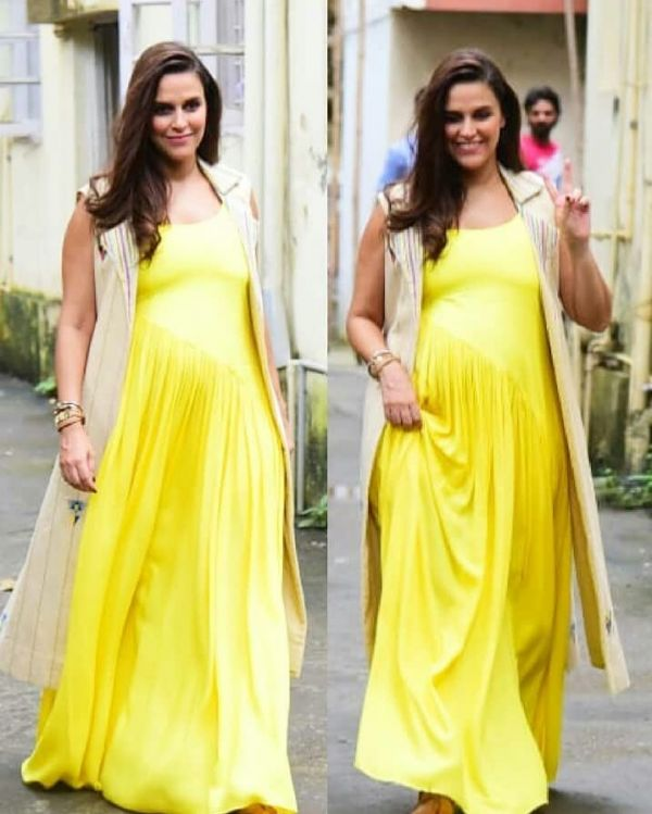 neha dhupia yellow dress