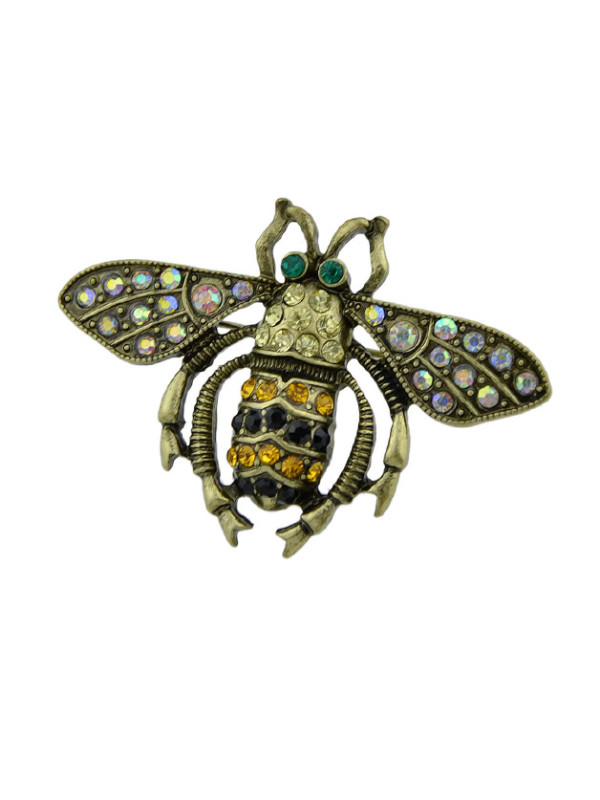 2 pins - Rhinestone Insect Bee Women Brooches Accessories