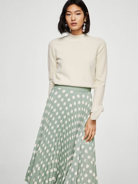 4 date night outfit - MANGO Green   White Polka Dot Print Accordian Pleat Maxi Skirt