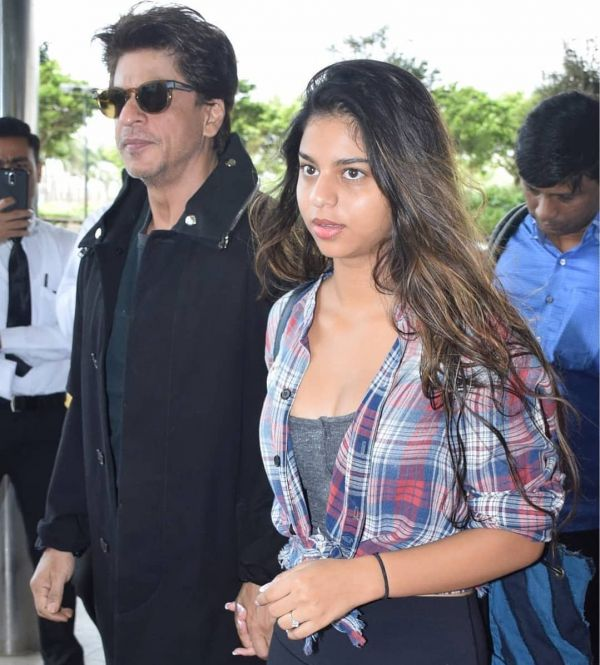 1 suhana khan - checked shirt with deep neck top
