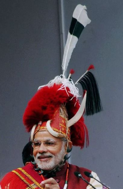 9 Narendra modi wearing a tribal hat