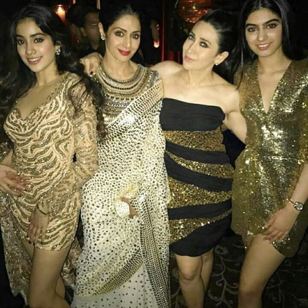 golden dresses janhvi and khushi kapoor twinning but different 4