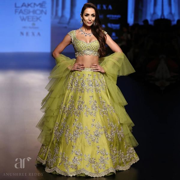 indian-wedding-dress-guide-anushree-reddy-green-lehenga-malaika-arora