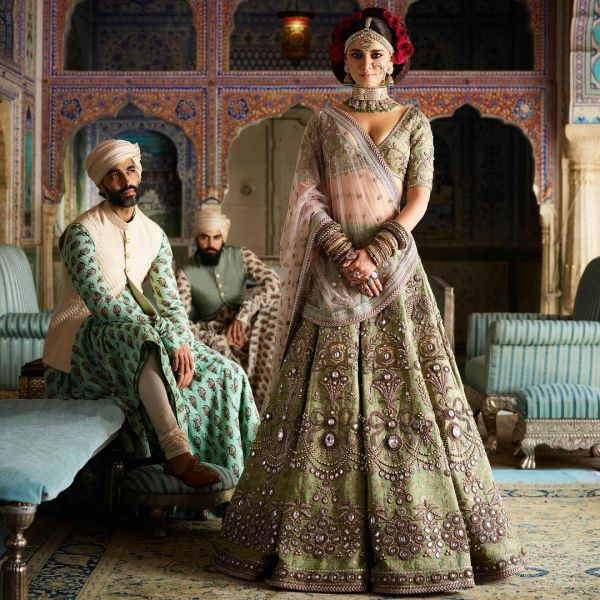 indian-wedding-dress-guide-sabyasachi-olive-green-lehenga