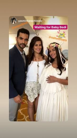 1 neha dhupia invited celebrity friends at her baby shower - neha dhupia  and angad bedi with a friend at her baby shower