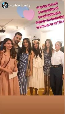 2 neha dhupia invited celebrity friends at her baby shower - neha dhupia  and angad bedi with a friend at her baby shower