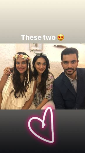 5 neha dhupia invited celebrity friends at her baby shower - neha dhupia and angad bedi with kiara advani at her baby shower