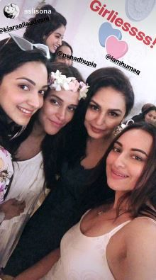 6 neha dhupia invited celebrity friends at her baby shower - neha dhupia and angad bedi with kiara advani  huma qureshi and sonakshi sinha at her baby shower