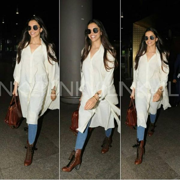 5-deepika-padukone-white-shirt-kurta-with-jeans-at-airport