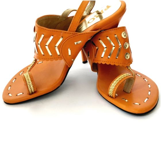 4-ethnic-shoes-Maya-Bright-Orange-Kolhapuri-Heels