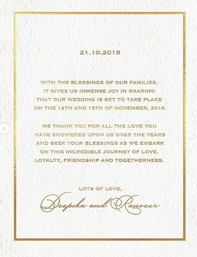 Bollywood Celebs Comment On DeepVeer's Wedding Announcement- English Wedding Invite