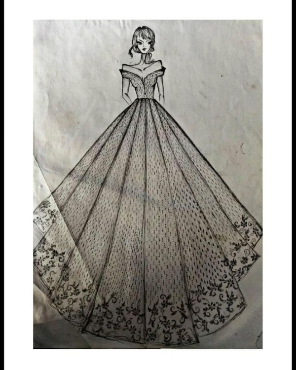 Yuvika Chaudhary reception gown sketch