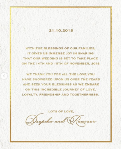 Deepika Ranveer wedding invite