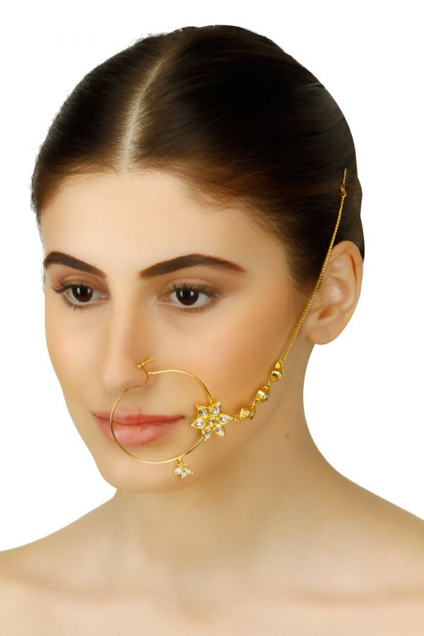 38-Jewellery-design-Gold-plated-kundan-studded-flower-motif-nose-ring