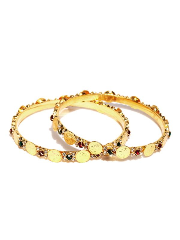 46-jewellery-design-Set-of-2-Maroon-Green-Gold-Plated-Bangles