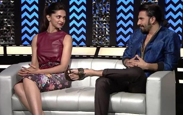 Adorable Pictures Of Deepika And Ranveer- silver couch