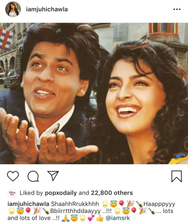 Here's How Bollywood Decided To Wish King Khan On His Birthday-juhi chawla
