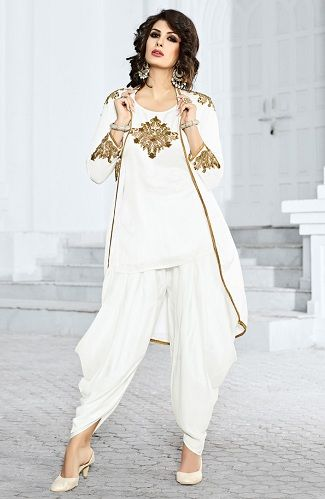 White-Kurtaand-Dhoti-Pajama-with-Long-Koti