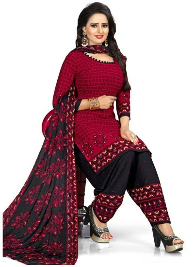 cotten-black-red-punjabi-suit