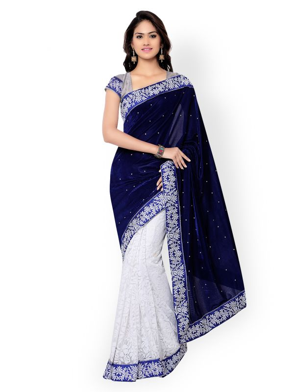 1-sarees-for-farewell-Navy-White-Brasso-Velvet-Embellished-Saree