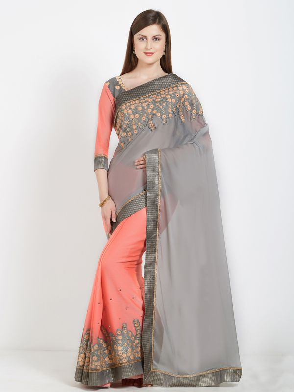 10-sarees-for-farewell-Pink-Grey-Pure-Georgette-Embellished-Saree