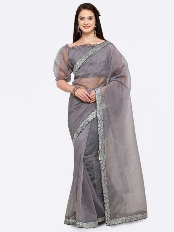 12-sarees-for-farewell-Grey-Silver-Toned-Organza-Solid-Saree