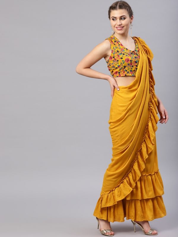 16-sarees-for-farewell-Yellow-Green-Solid-Lehenga-Saree