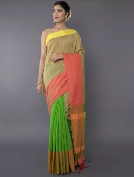 18-sarees-for-farewell-Beige-Green-Cotton-Silk-Saree