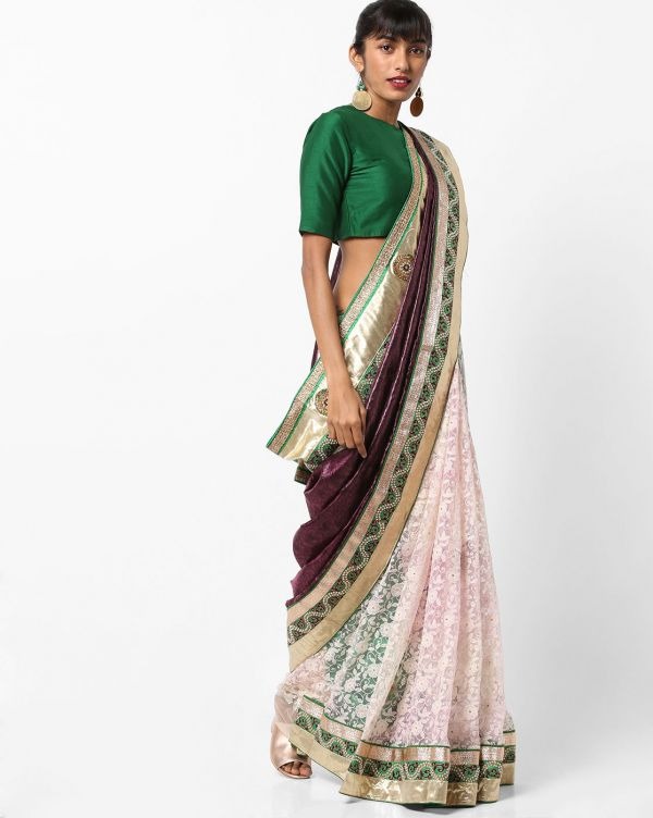 19-sarees-for-farewell-Jacquard-Saree-with-Contrast-Border