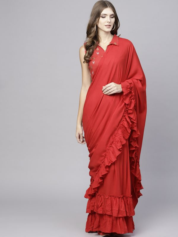22-sarees-for-farewell-Red-Solid-Viscose-Rayon-Saree