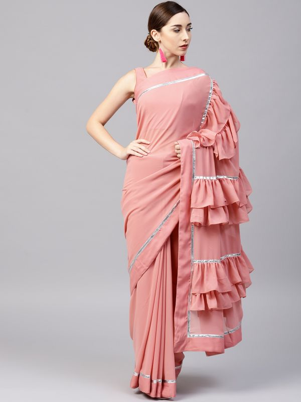 25-sarees-for-farewell-Pink-Solid-Ruffle-Saree