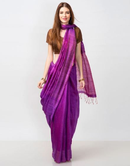 31-sarees-for-farewell-Purple-Silk-Matka-Woven-Loom-Zari-Stripe-Sari