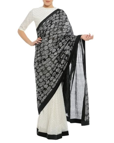 34-sarees-for-farewell-Dry-Pineapple-Stamp-Sari-with-Polka-Dot-Blouse-Piece