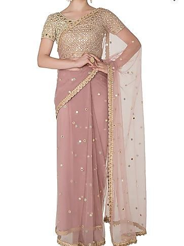 38-sarees-for-farewell-Lilac-Mirror-Pearls-Embellished-Saree