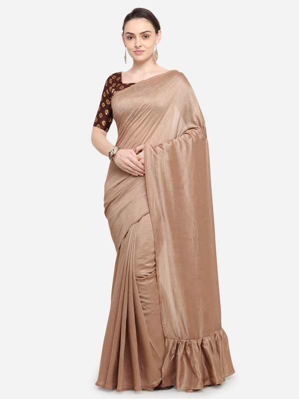 4-sarees-for-farewell-Brown-Solid-Poly-Crepe-Saree