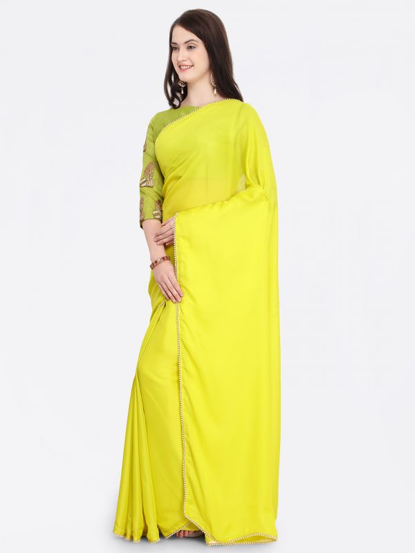 7-sarees-for-farewell-Lime-Green-Embellished-Satin-Saree