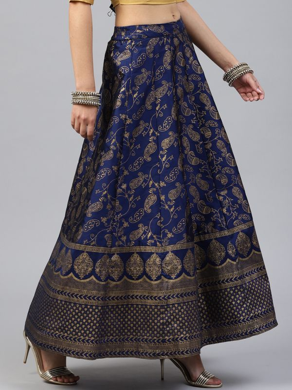 6-parineeti-chopra-Women-Navy-Blue-Foil-Print-Embroidered-Skirt