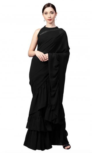 inddus-ruffled-sare-bollywood-black-festive-Indian-outfits