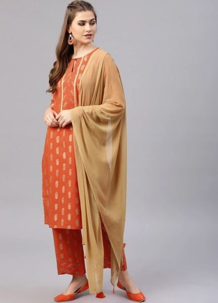 aks-rust-suit-with-palazzos-what-to-wear-for-first-lohri-after-wedding