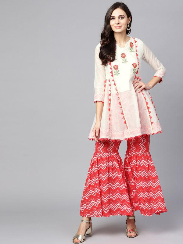 ishin-white-coral-kurti-sharara-what-to-wear-for-first-lohri-after-wedding