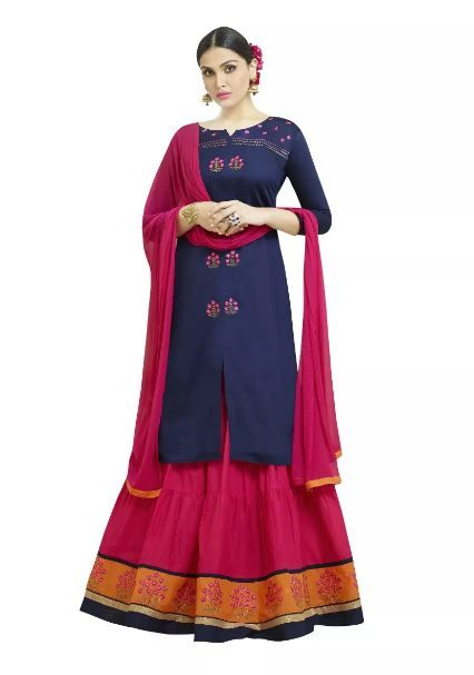 voonik-navy-pink-suit-with-lehenga-what-to-wear-for-first-lohri-after-wedding