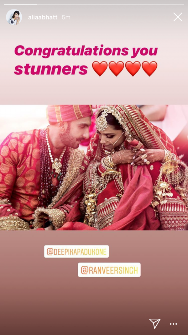 deepika ranveer first photo insta wishes - alia bhatt