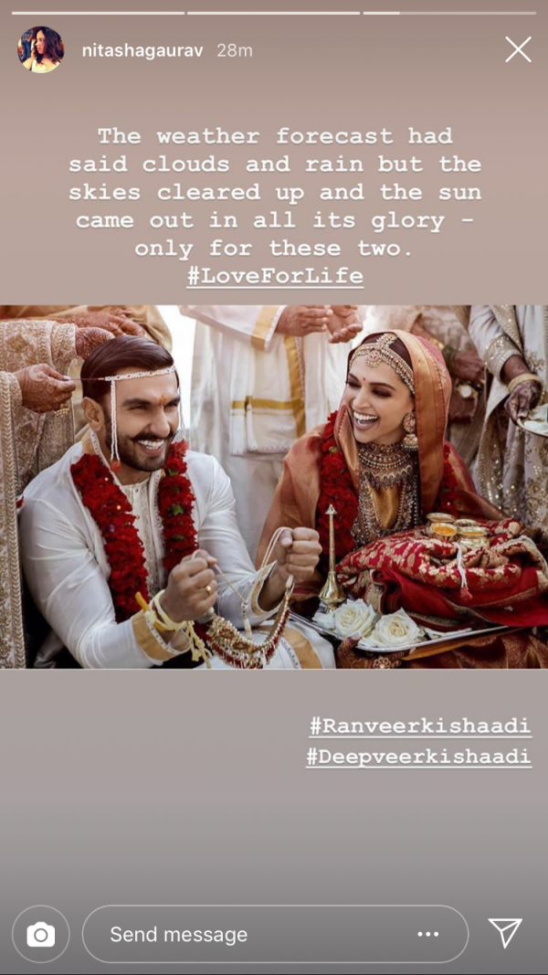 deepika ranveer first photo insta wishes - nitashaa gaurav -1