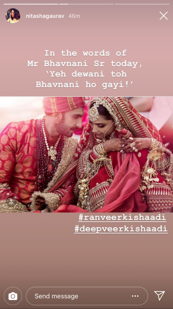 deepika ranveer first photo insta wishes - nitashaa gaurav -2