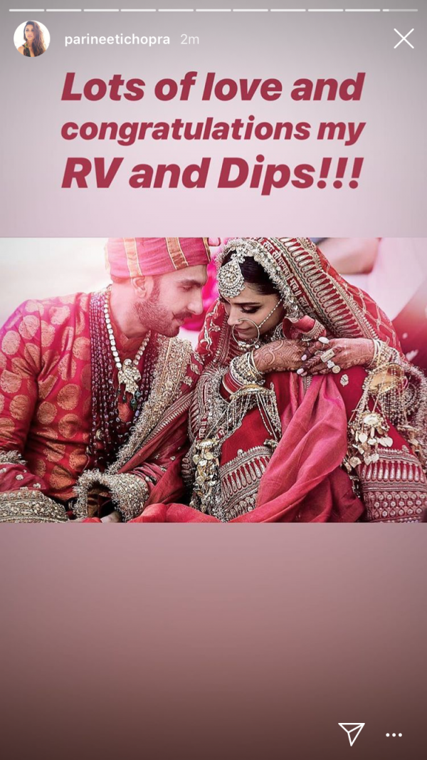 deepika ranveer first photo insta wishes - parineeti chopra