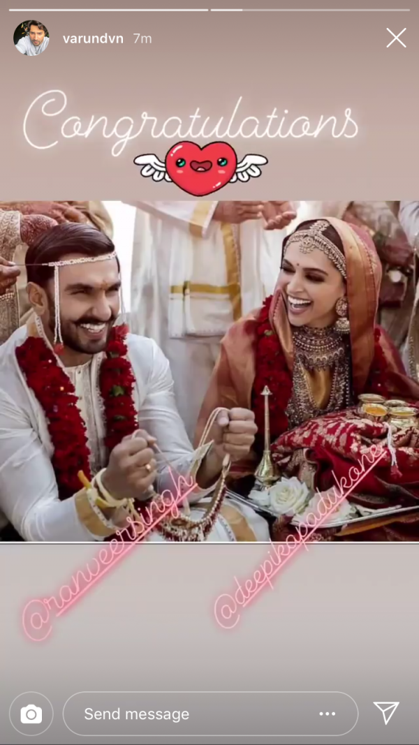 deepika ranveer first photo insta wishes - varun dhawan