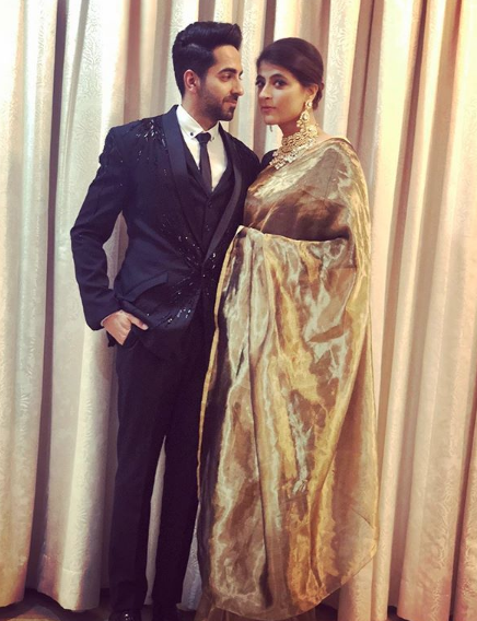 1 Ayushmann khurrana and tahira kashyap at deepveer's wedding reception