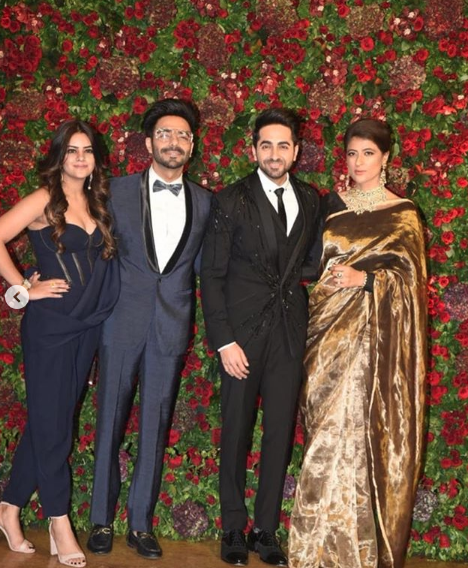 5 Ayushmann khurrana and tahira kashyap at deepveer's wedding reception