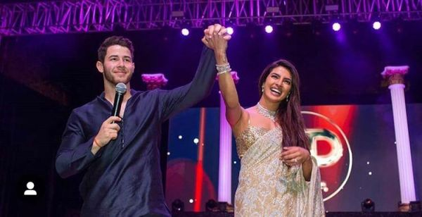 Nick Jonas and Priyanka Chopra at their sangeet in Abu Jani Sandeep Khosla